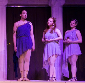 Kathryn Solomon as Queen Dido, with Kelly Singer and Heather McPherson as her attendants