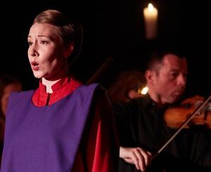 Mezzo soprano Kathryne Overturf and violinist Kiril Laskarov in Praeclara's Messiah: Passion and Resurrection