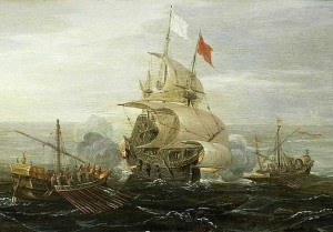 Painting of a ship being attacked by pirates