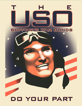A vintage 1940s USO poster. A pilot stands in front of a flag selling war bonds