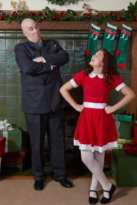 Robert Holden as Oliver Warbucks with Ruby Reeves as Annie