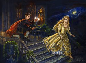 An illustration of Cinderella fleeing the ball at midnight, pursued by Prince Charming