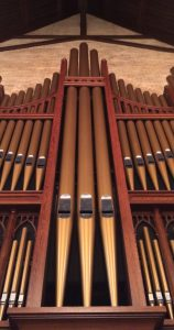 A closeup of the organ pipes at First Presbyterian Church in Little Rock
