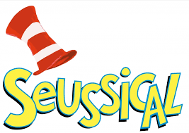 The word Seussical topped by a tall red-and-white striped hat