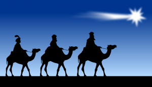 Three kings riding camels follow a bright star against a dark blue sky