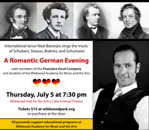 Pictures of composers Schubert, Strauss, Brahms, and Schumann above a black and white photo of tenor Neal Banerjee