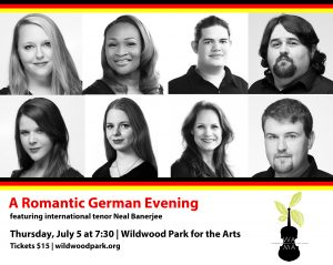 Photos of Melanie Hanna, Satia Spencer, Luke Angelo, Ethan Ezell, Shea Williamson, Elizabeth Riddick, Kira Keating, and Kevin Ezell, who are performing in the Romantic German Evening concert on July 5 with Neal Banerjee