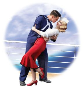 An illustration of a 1940s era Ralph Rackstraw and Josephine Corcoran embracing on the deck of a British warship