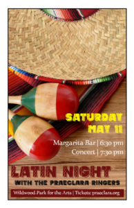 Poster for Latin Night with the Praeclara Ringers, featuring a photo of a sombrero with red and green painted maracas